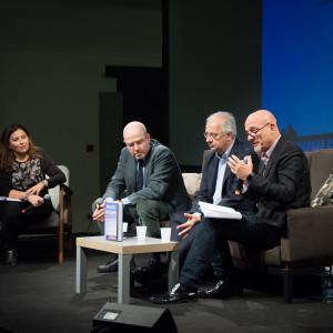 Claudio Bisio, Massimo Gramellini e Walter Veltroni - ph. Alessandra Lanza